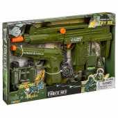 Набор оружия с биноклем, рацией, часами, гранатой, звук, 33860